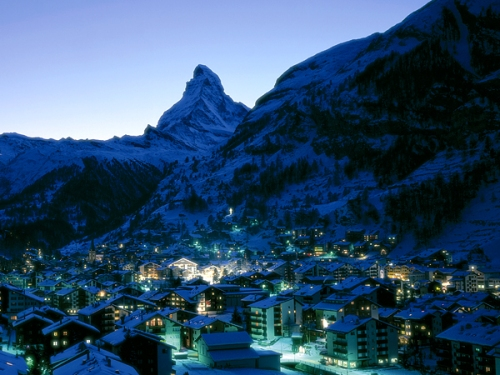 The town of Zermatt in the evening with the Matterhorn in the background